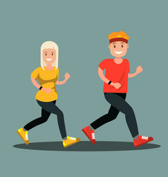 a man and a woman in sports clothes doing a run vector image