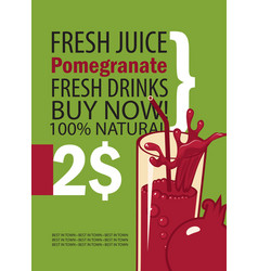 banner with pomegranate and glass of juice vector image