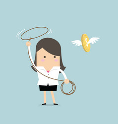 businesswoman chasing flying money by rope vector image