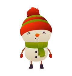 cheerful cute snowman on white background isolated vector image