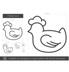 Chicken line icon vector