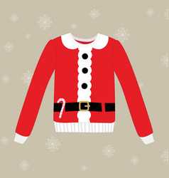 christmas sweater on background with snowflakes vector image