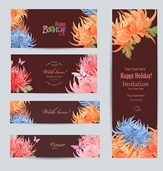 Collection of greeting cards with a chrysanthemum vector
