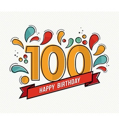 Color happy birthday number 100 flat line design vector image vector image