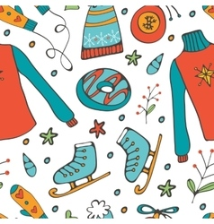 Colorful hand drawn pattern of winter elements vector
