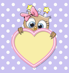Cute cartoon owl girl vector