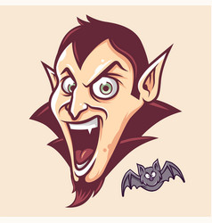 cute dracula head and bat in cartoon style vector image