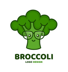 cute smiling smart broccoli in glasses vector image