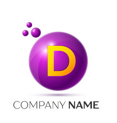 D letter splash purple dots and circle bubble vector