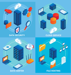 data center concept isometric poster set vector image