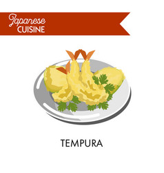 Delicious tempura made of king prawns with parsley vector
