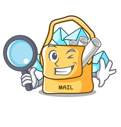 Detective the bag with shape mail cartoon vector