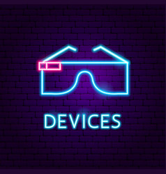 devices neon label vector image