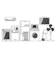 electric house appliances monochrome outlined vector image