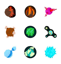 Fantastic planet icons set cartoon style vector