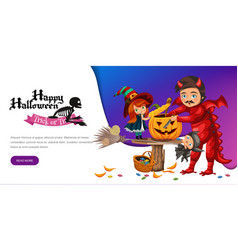 Father and daughter making hallows pumpkin poster vector