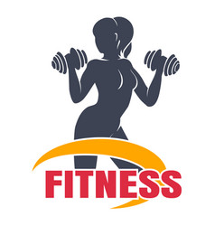 Fitness emblem with woman workout vector