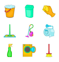 floor cleaning icon set cartoon style vector image
