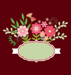 Flowers and leaves with ribbon vector image