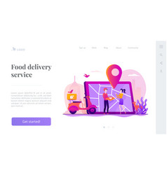 Food delivery service landing page template vector