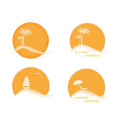 four summer logo with sun palm trees ocean or vector image