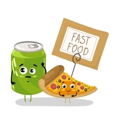 Funny pizza slice and soda can cartoon character vector image