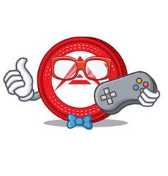 Gamer ark coin character cartoon vector