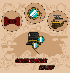 Gentlemens vintage stuff flat icon set vector