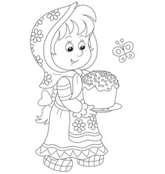 girl with an easter cake vector image