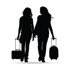 girl with traveling bag silhouette vector image