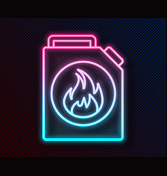 Glowing neon line canister for flammable liquids vector