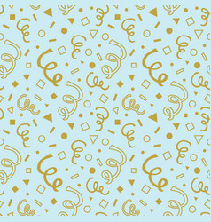 golden hand drawn curls seamless pattern on blue vector image