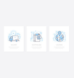 goods shipping - line design style icons set vector image