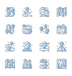 Gps navigator geo tag line icons set vector
