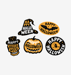 halloween label set holiday symbol vector image
