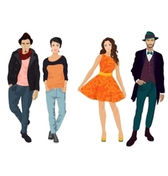 Handsome young guys with beautiful girls vector