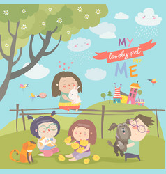 Happy children with pets vector