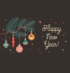 Happy new year greeting card flat template vector
