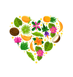 heart with tropical fruit pattern vector image