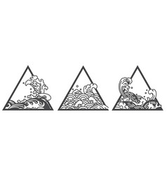 Japan oriental water wave triangle tattoo vector