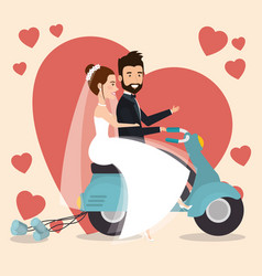 Just married couple in motorcycle avatars vector