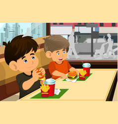 Kids eating hamburger and fries vector