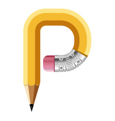Letter p pencil icon cartoon style vector