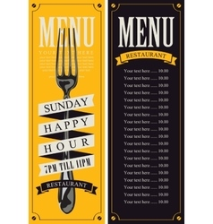 menu with fork for restaurant vector image