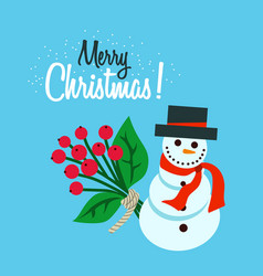 merry christmas flat snowman vector image