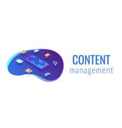 mobile content isometric 3d banner header vector image
