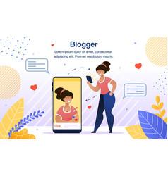 modern female blogger flat poster template vector image