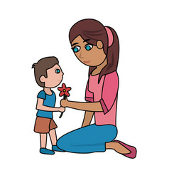 mom and kid with flower cartoon vector image