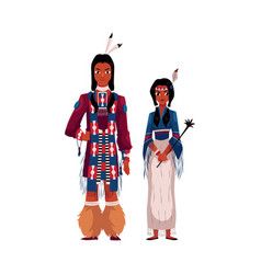native american indian couple in traditional vector image