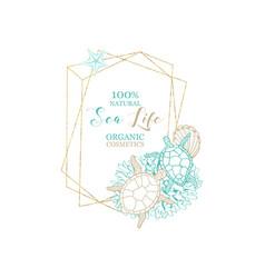Natural marine organic cosmetics sea water cream vector